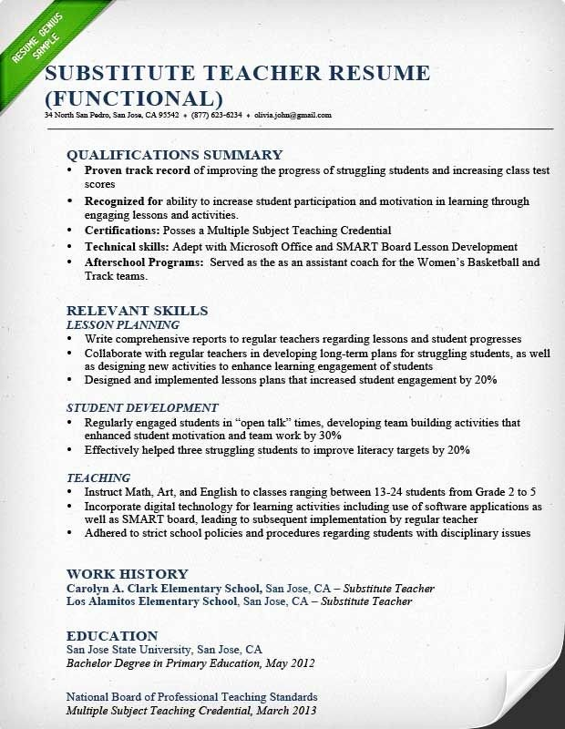 Resume Template for Teachers Fresh Substitute Teacher Resume Sample Functional