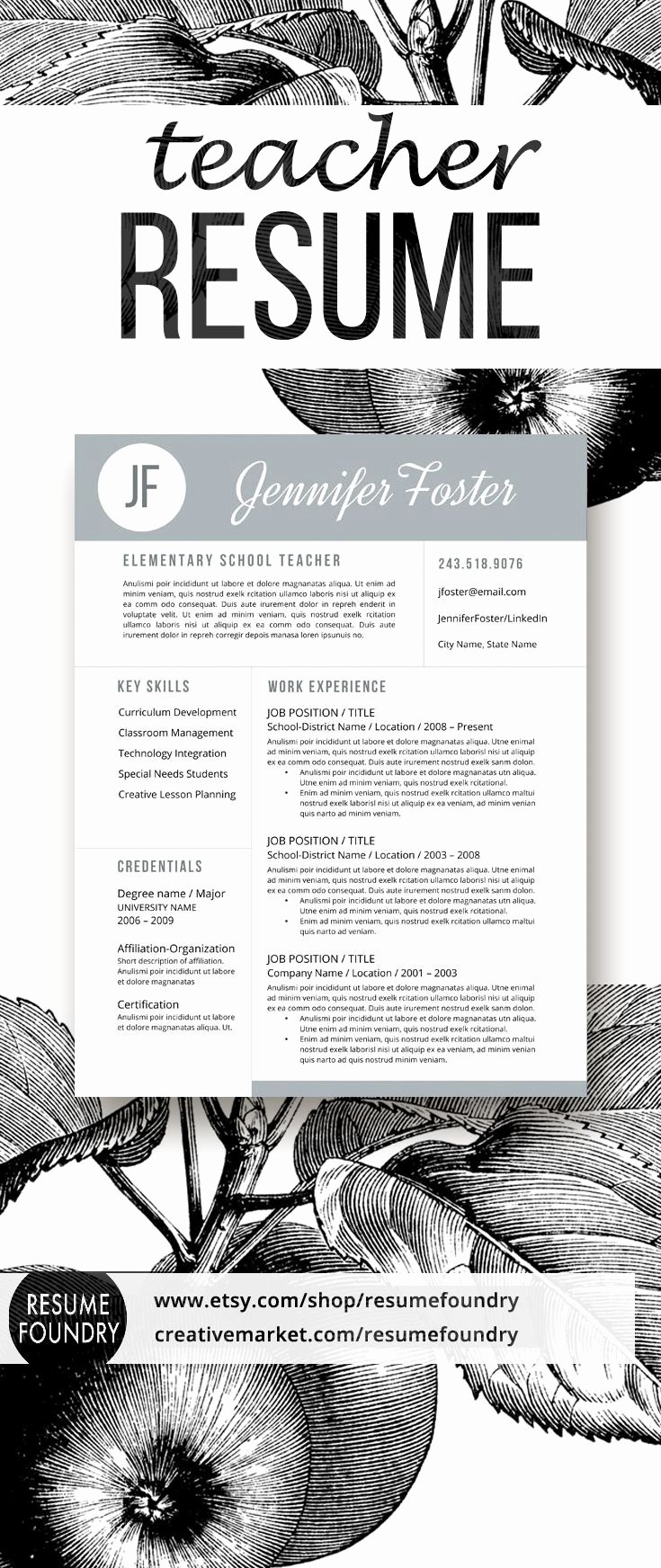 Resume Template for Teachers Inspirational Best 25 Teacher Resume Template Ideas On Pinterest