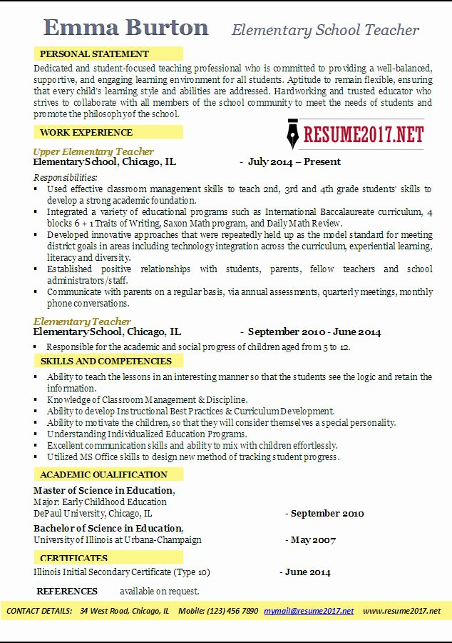 Resume Template for Teachers Luxury Elementary School Teacher Resume Examples 2017