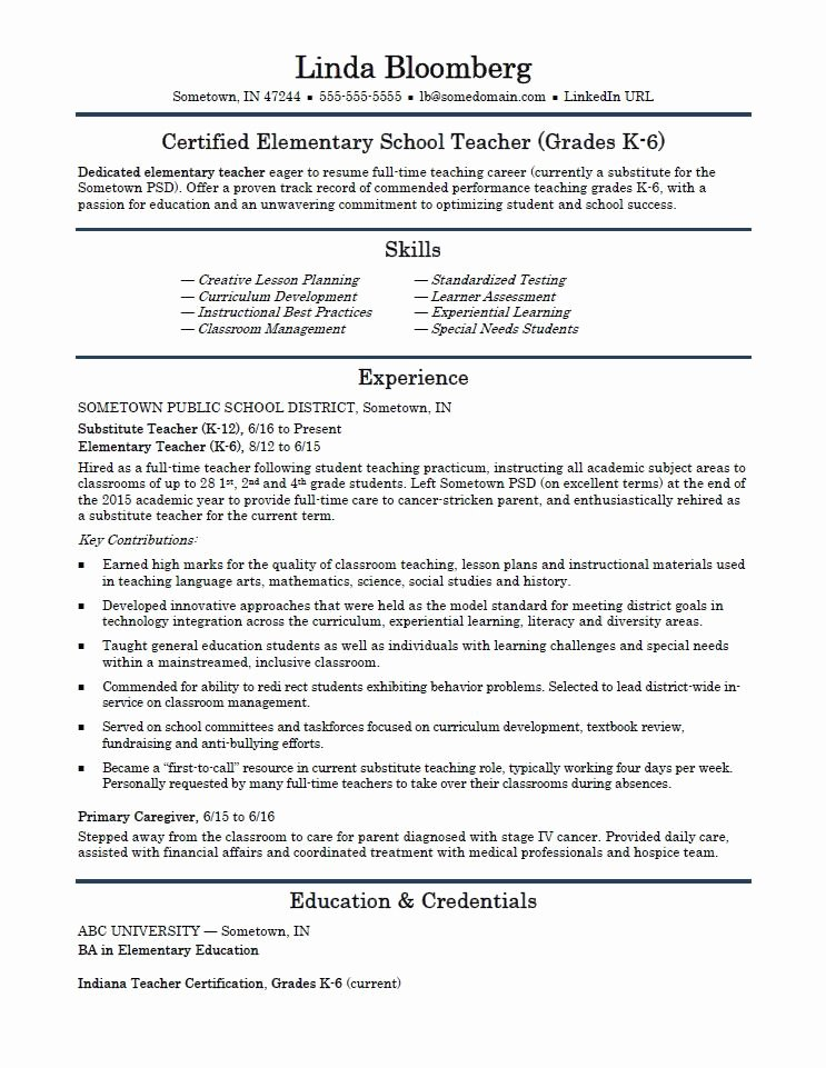 Resume Template for Teachers New Elementary School Teacher Resume Template