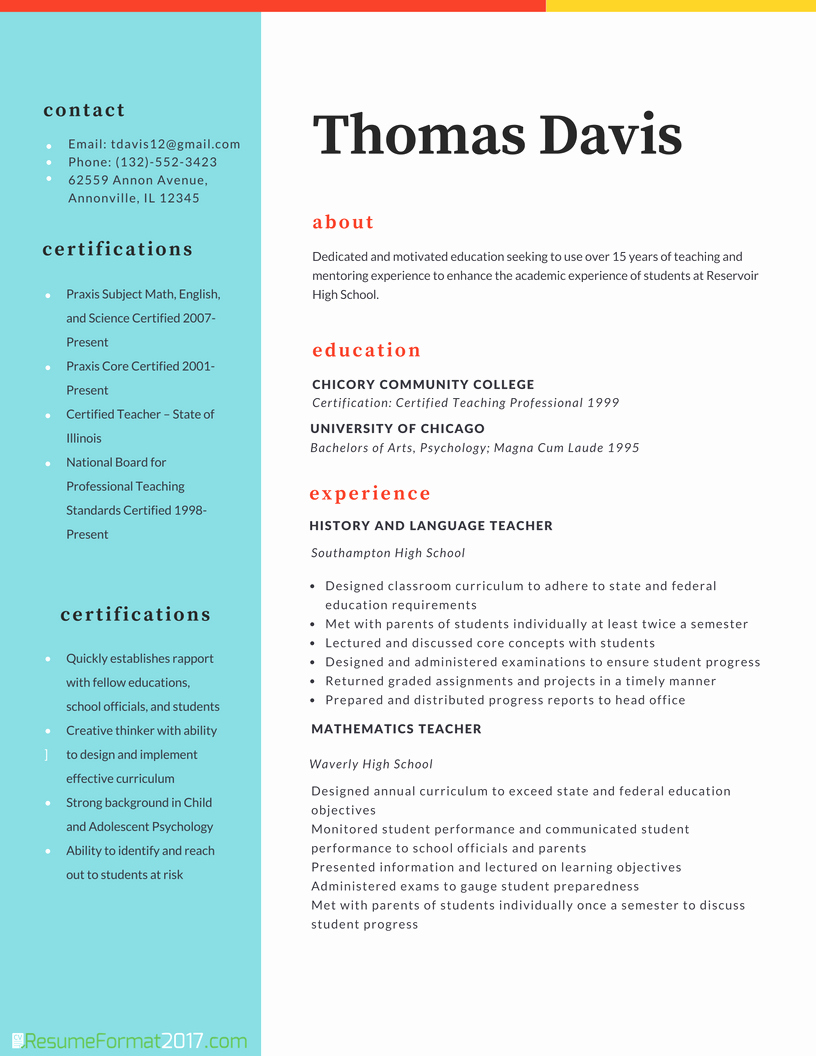 Resume Template for Teachers Unique Teacher Professional Resume format 2018