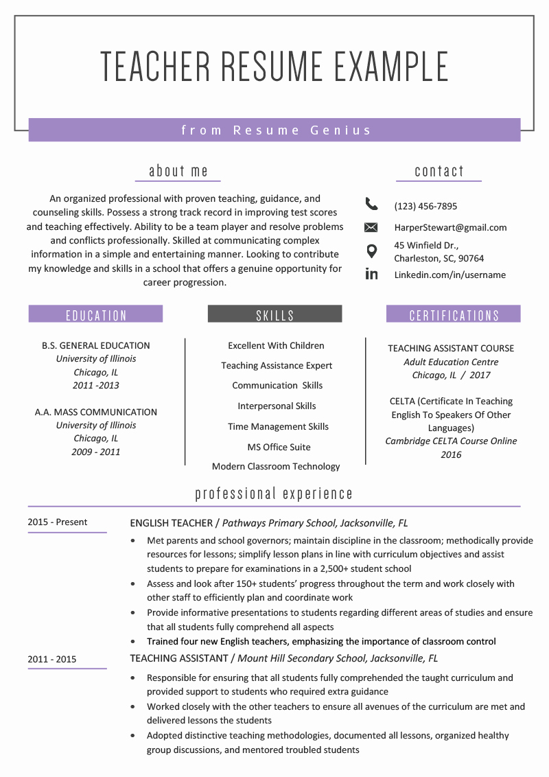 Resume Template for Teachers Unique Teacher Resume Samples & Writing Guide