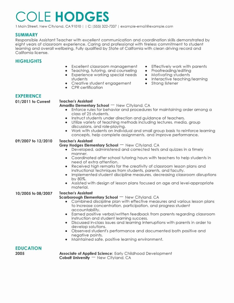 Resume Template for Teaching Best Of 12 Amazing Education Resume Examples