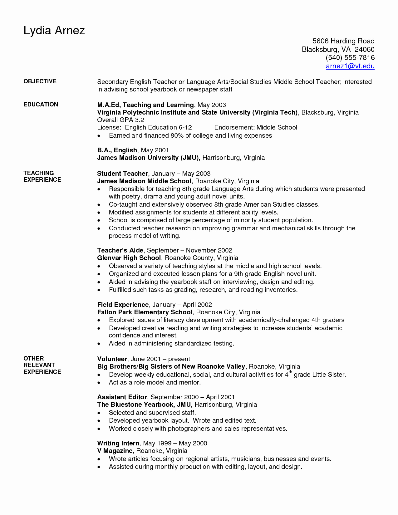 Resume Template for Teaching Elegant Art Teacher Resume Examples