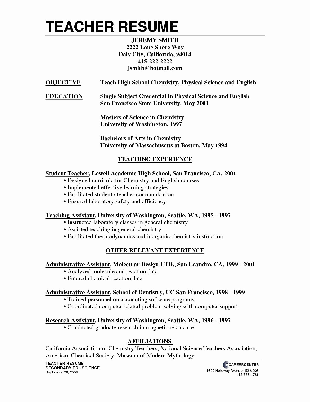 Resume Template for Teaching Fresh High School Teacher Resume