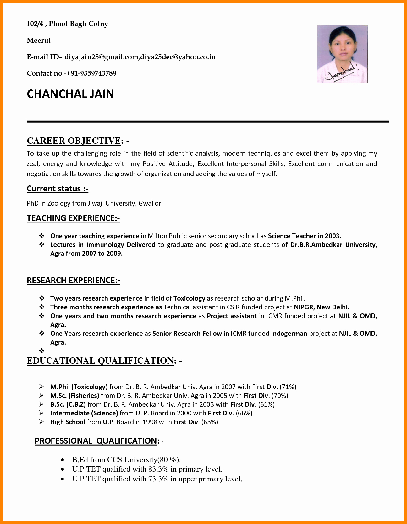 Resume Template for Teaching Lovely 10 Cv format Teachers Job