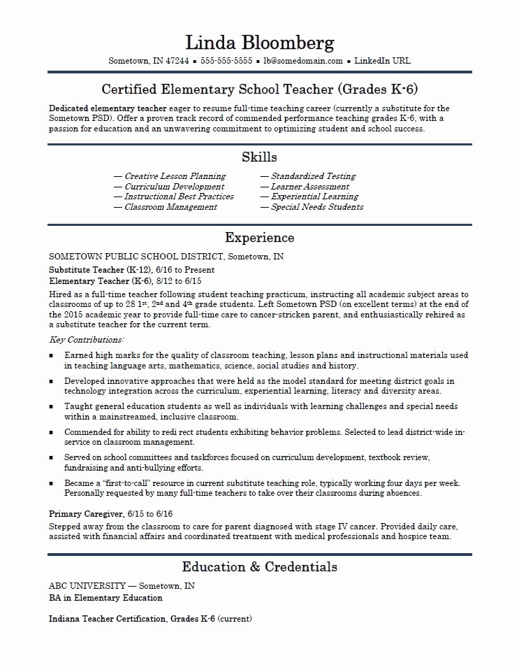 Resume Template for Teaching Lovely Elementary School Teacher Resume Template