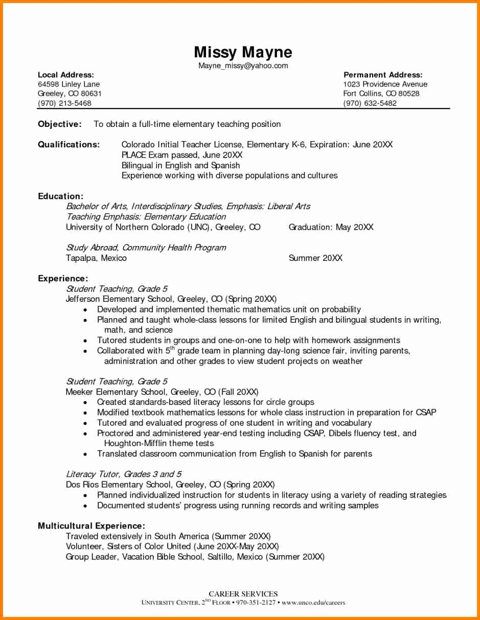 Resume Template for Teaching New 12 Elementary Teaching Resume Examples