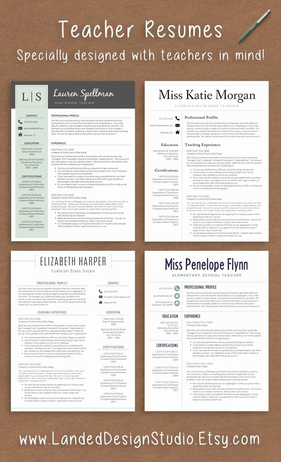 Resume Template for Teaching New Professionally Designed Resumes with Teachers In Mind