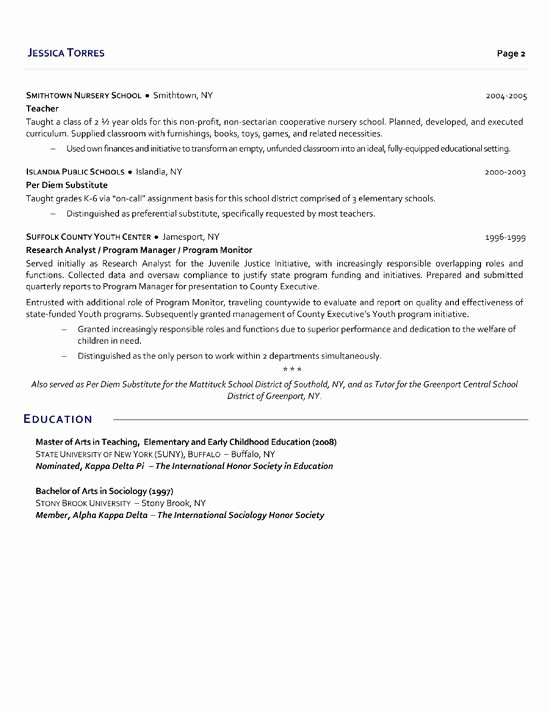 Resume Template for Teaching New Substitute Teacher Resume