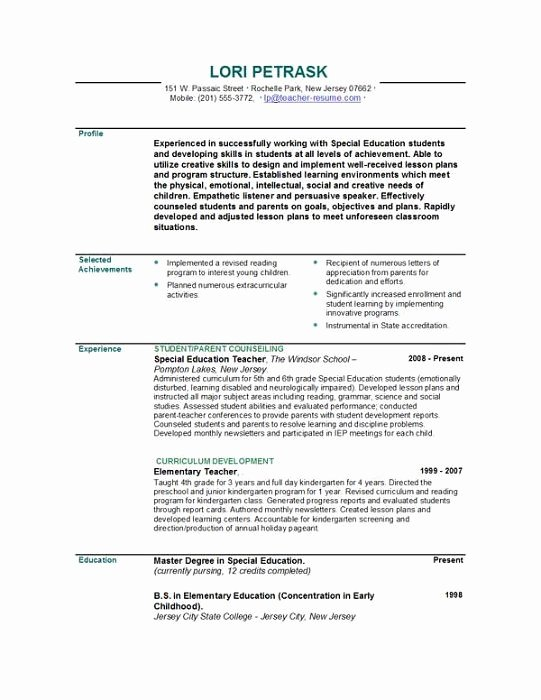 Resume Template for Teaching New Teacher Resumes