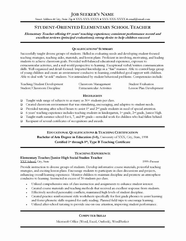 Resume Template for Teaching Unique 28 Best Images About Teacher Resumes On Pinterest