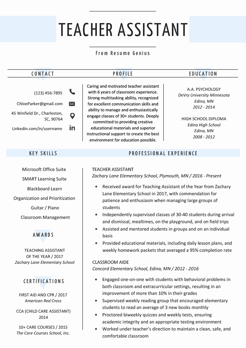 Resume Template for Teaching Unique Teacher assistant Resume Sample & Writing Tips