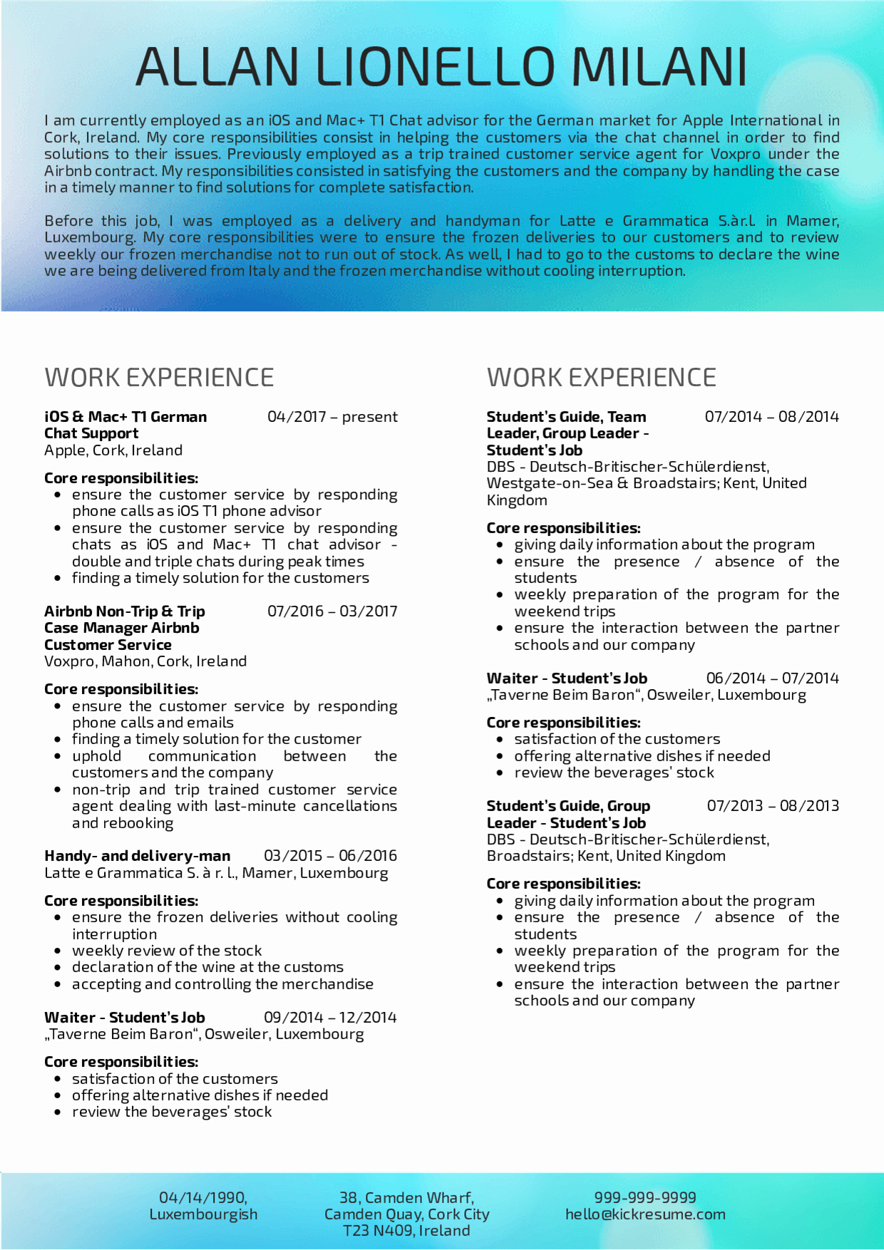 Resume Templates for Mac Beautiful Resume Examples by Real People Customer Support at Apple