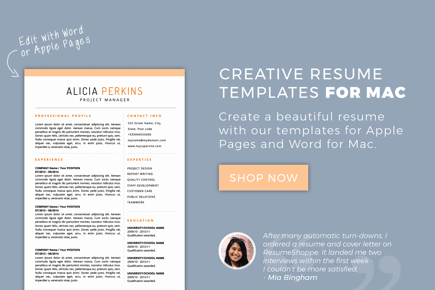 Resume Templates for Mac Inspirational Resume Templates for Mac Word & Apple Pages Instant