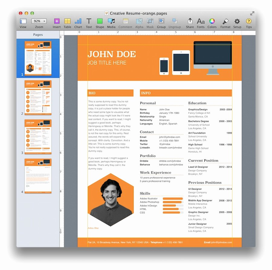 Resume Templates for Mac New Creative Resume Template for Pages