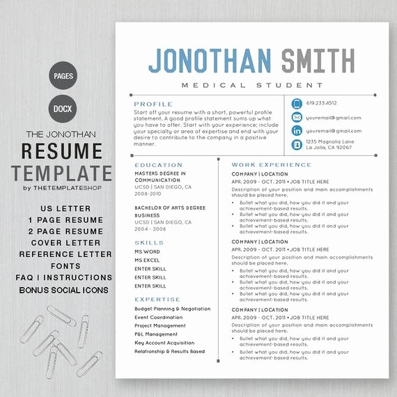 Resume Templates for Mac New Resume Template Cv Template for Word Printable social