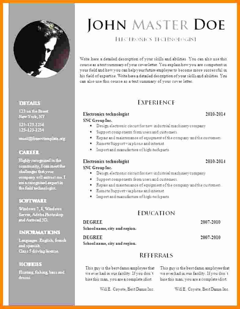 Resume Templates Free Word Awesome 5 Cv Template Doc Word