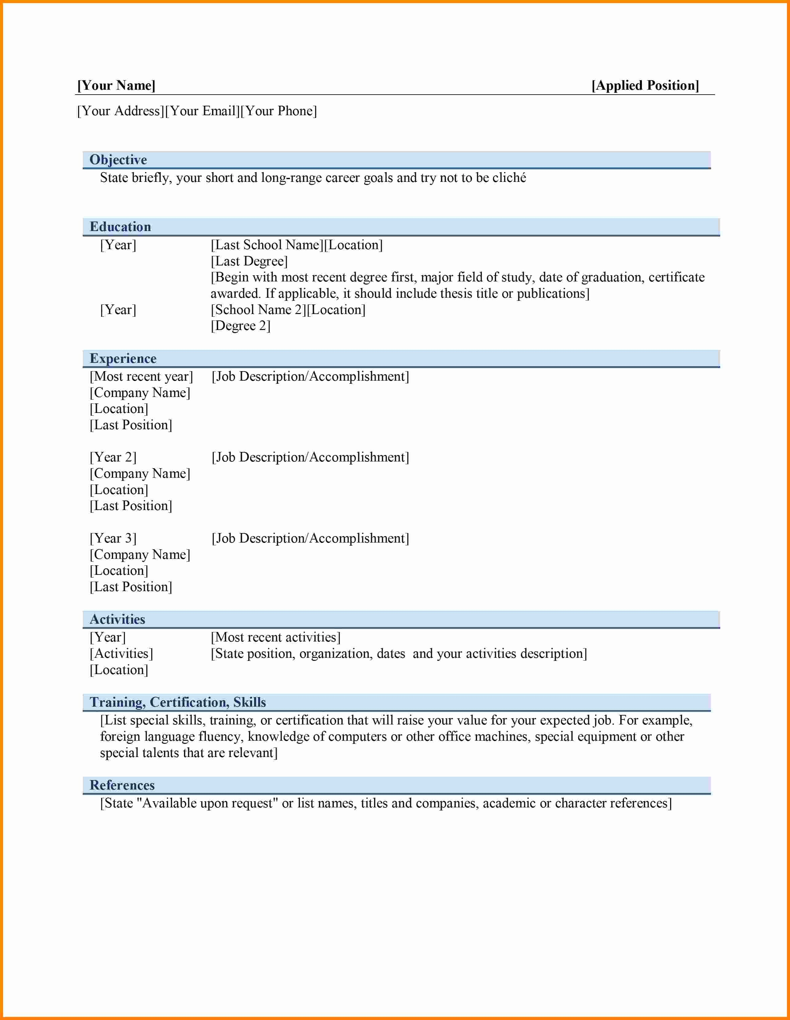 Resume Templates Free Word Elegant 6 Curriculum Vitae In Ms Word