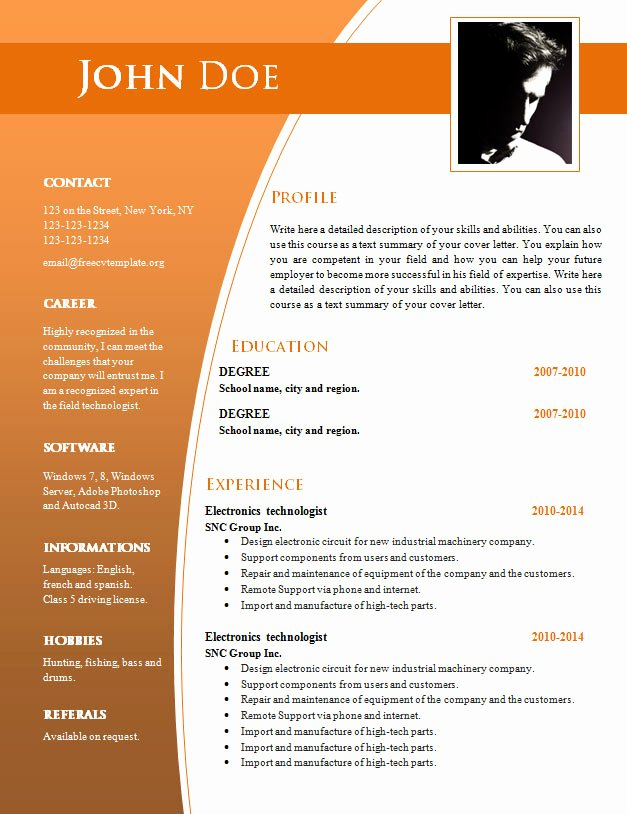 Resume Templates Free Word Elegant Cv Templates for Word Doc 632 – 638 – Free Cv Template