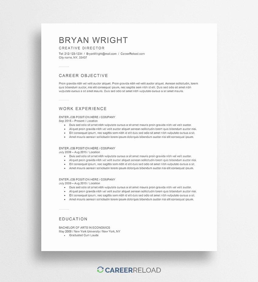 Resume Templates Free Word Elegant Free Word Resume Templates Free Microsoft Word Cv Templates