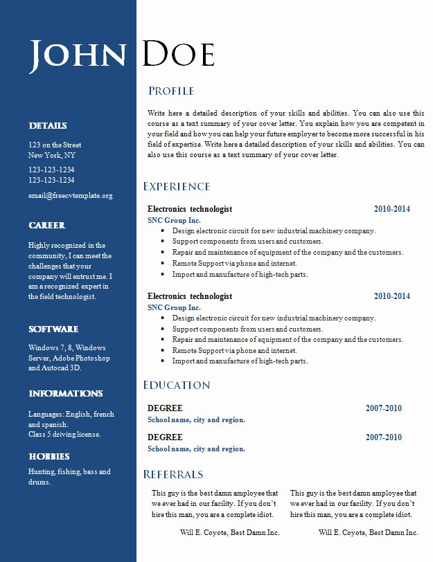 Resume Templates Free Word Inspirational Free Creative Resume Cv Template 547 to 553 – Free Cv