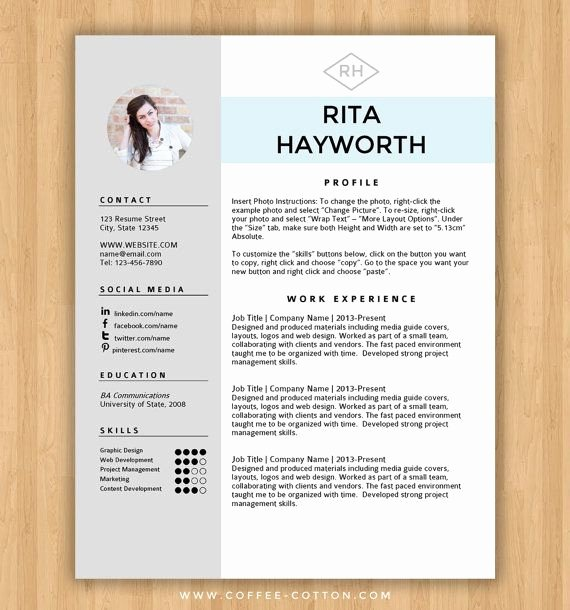 Resume Templates Free Word Unique Instant Download Resume Template & Cover Letter Editable