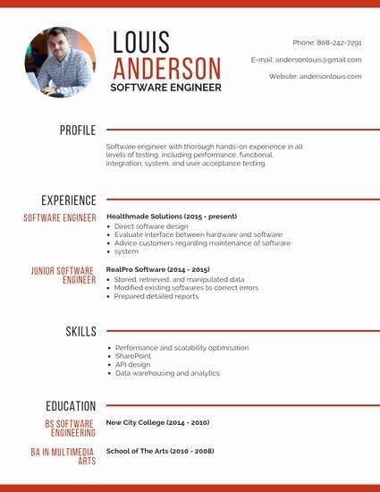 Resume with Picture Template Beautiful Professional software Engineer Resume Templates by Canva
