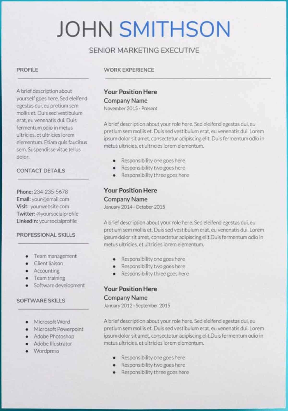 Resume with Picture Template Best Of 30 Google Docs Resume Templates [downloadable Pdfs]