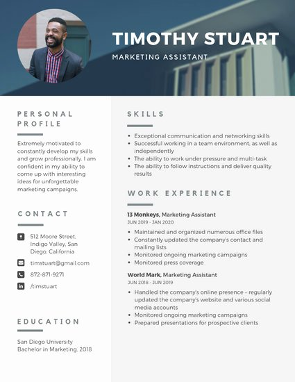 Resume with Picture Template Best Of Customize 1 079 Resume Templates Online Canva