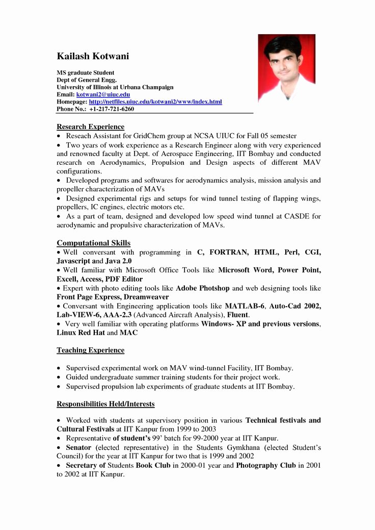Resume with Picture Template Elegant 11 Student Resume Samples No Experience