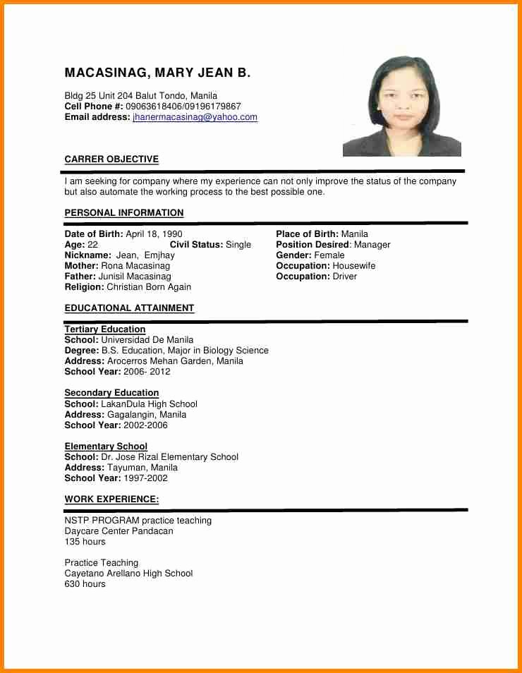 Resume with Picture Template Lovely 6 Example Of Filipino Resume format