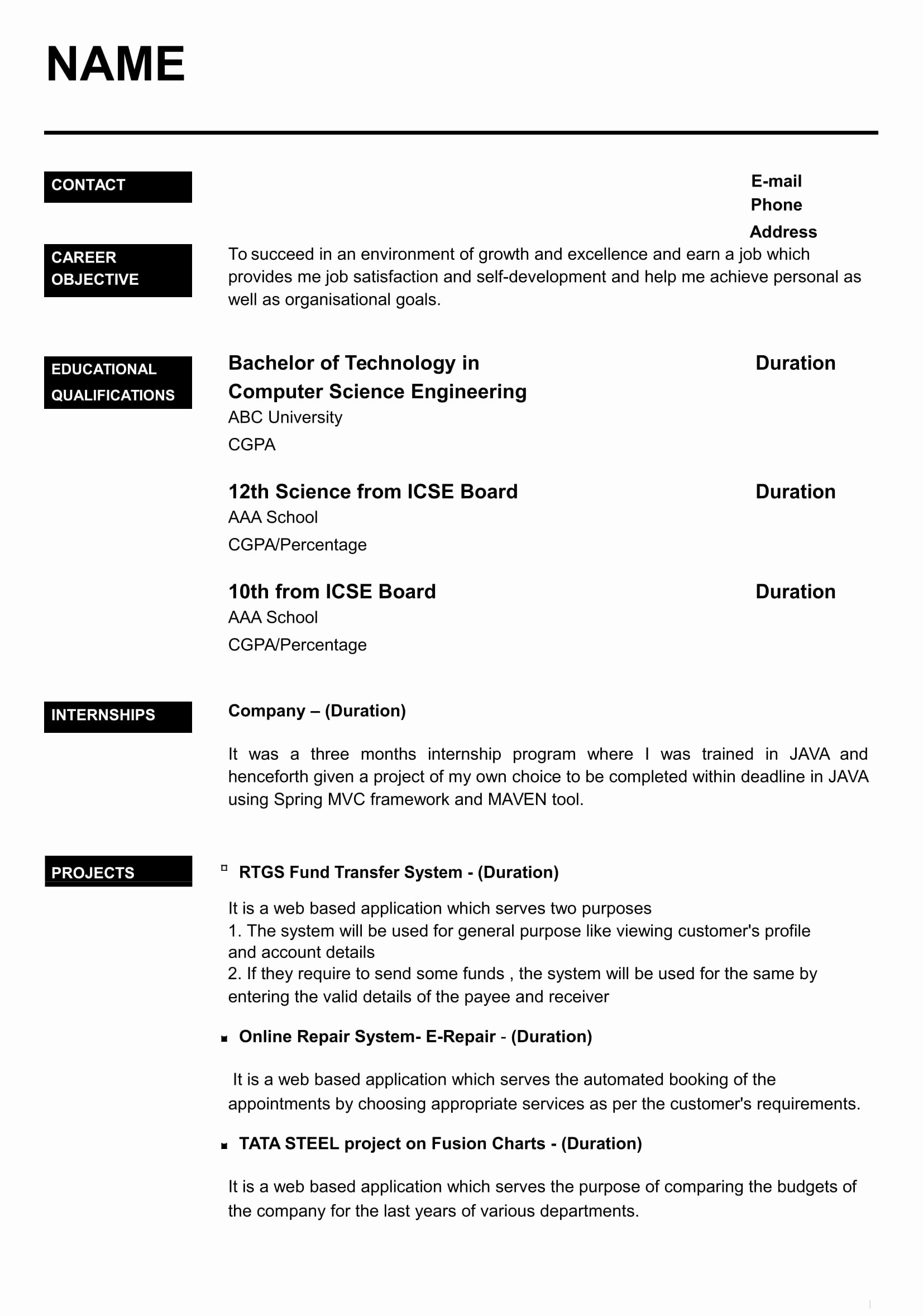 Resume with Picture Template New 32 Resume Templates for Freshers Download Free Word format