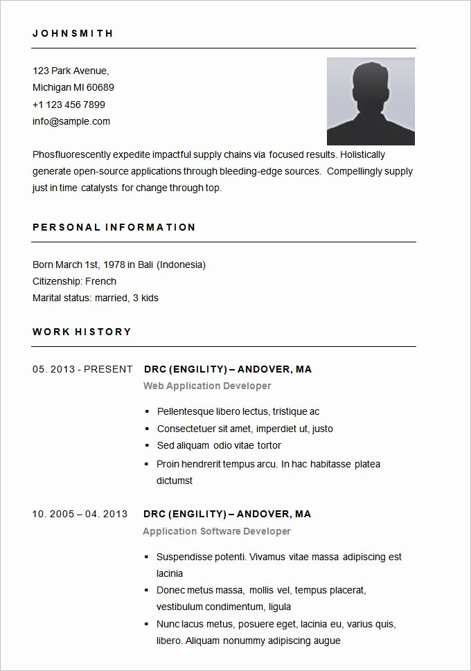 Resume with Picture Template Unique Resume Templates