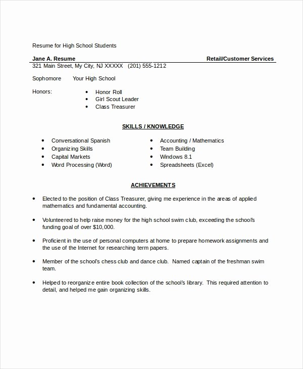 Resumes for High School Students Beautiful 10 High School Resume Templates Examples Samples format