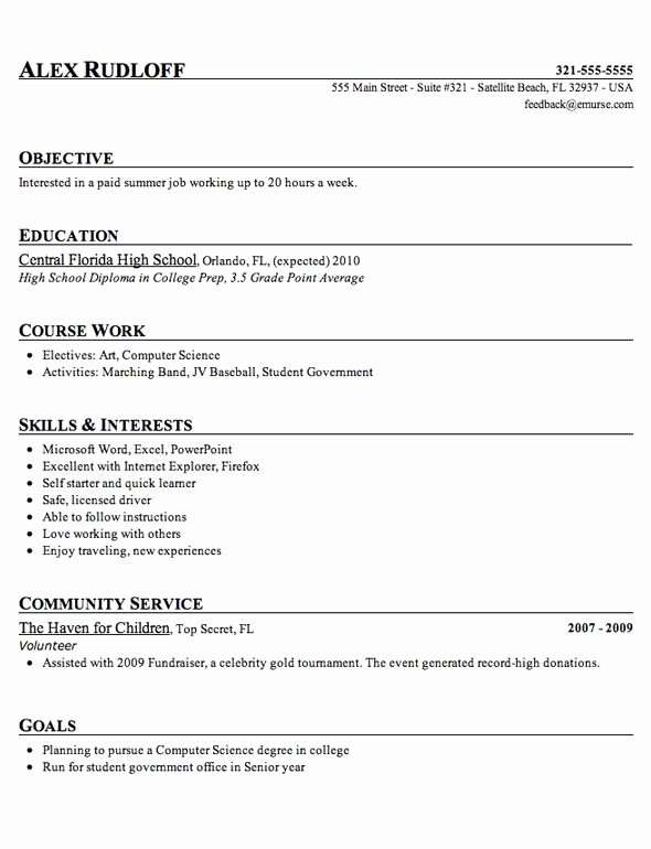 Resumes for High School Students Beautiful High School Student Resume Template Tips 2018