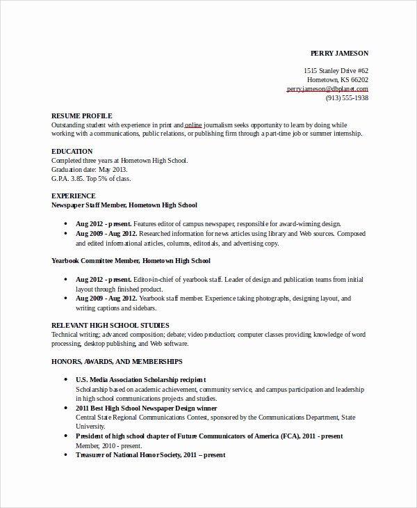 Resumes for High School Students Best Of 8 Sample College Resumes Pdf Doc