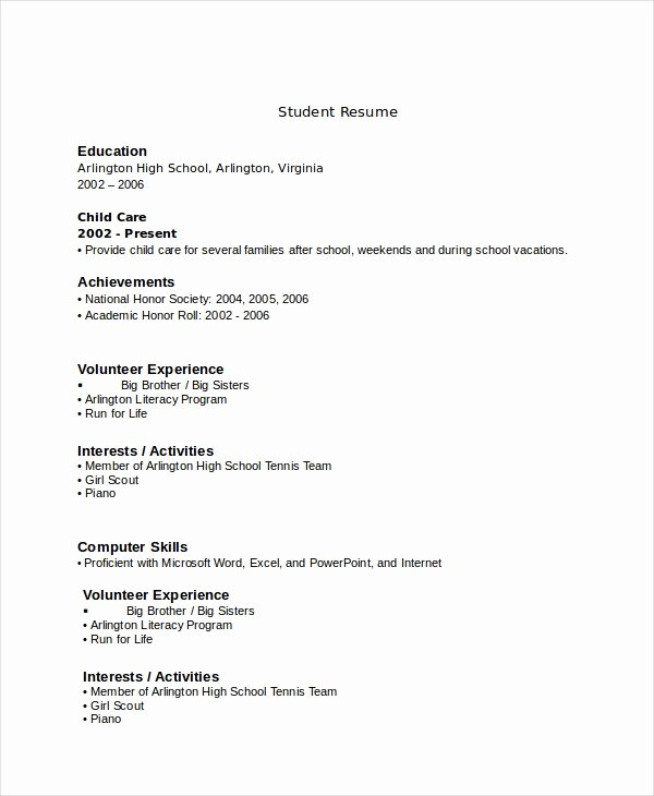 Resumes for High School Students Inspirational 10 High School Resume Templates Examples Samples format