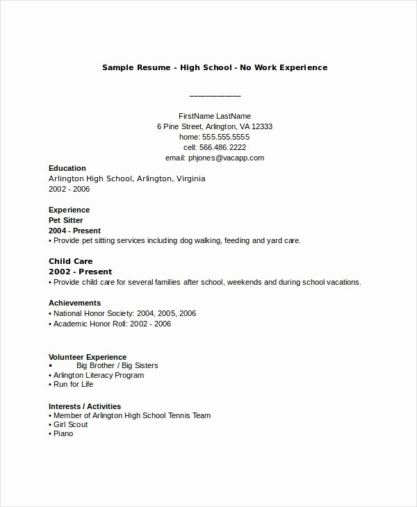Resumes for High School Students Lovely 10 High School Resume Templates Examples Samples format
