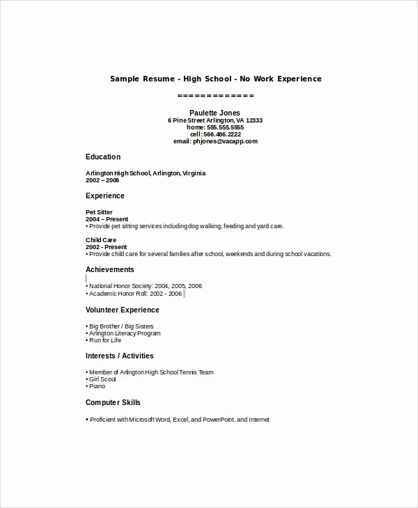 Resumes for High School Students Lovely Sample High School Student Resume 8 Examples In Word Pdf