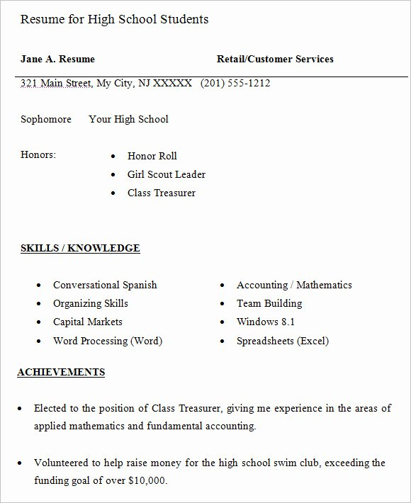 Resumes for High School Students Luxury High School Resume – 9 Free Samples Examples format