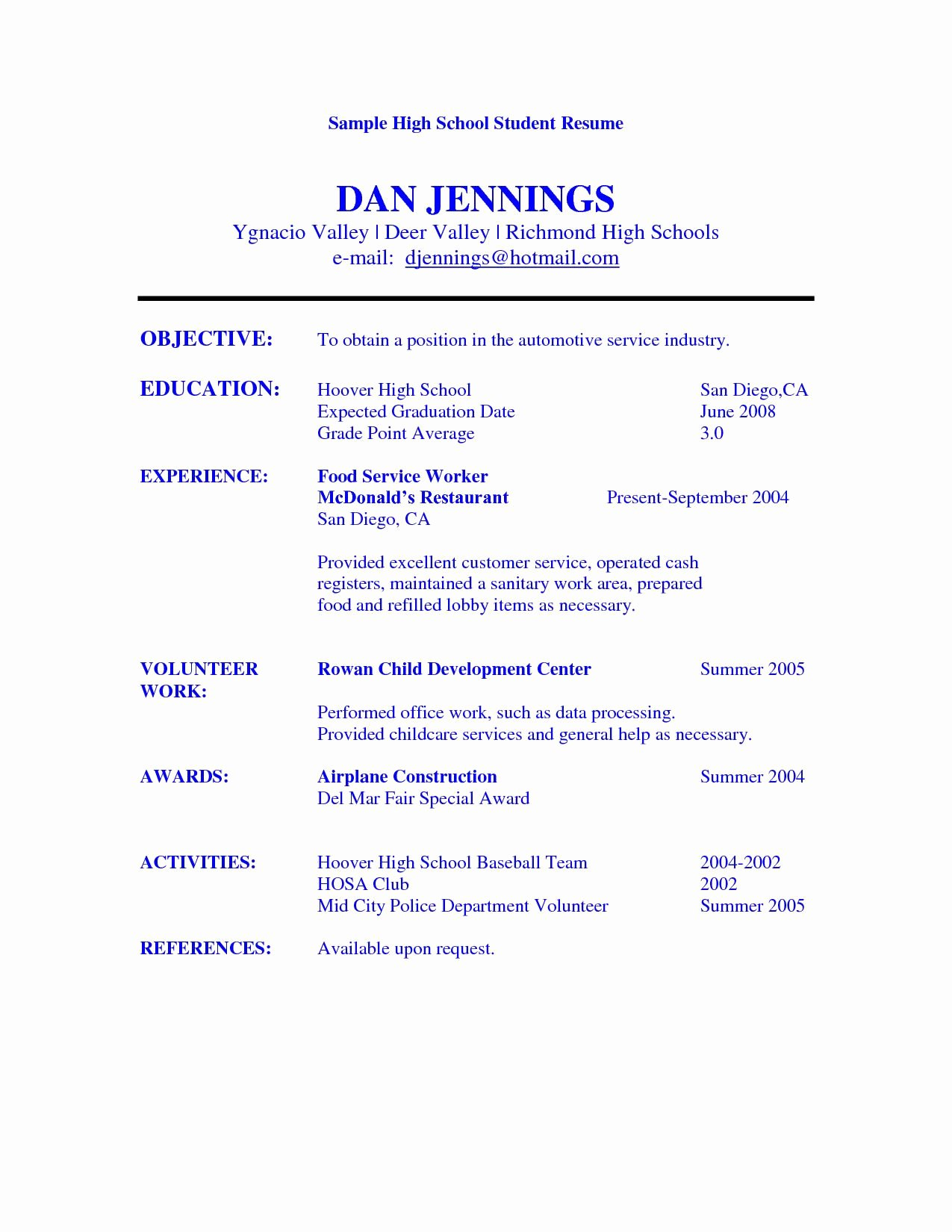 Resumes for High School Students New High School Student Resume Objective Examples
