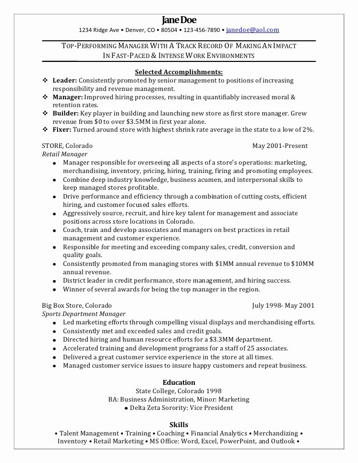 Retail Store Manager Resume Fresh Retail Manager Sample Resume
