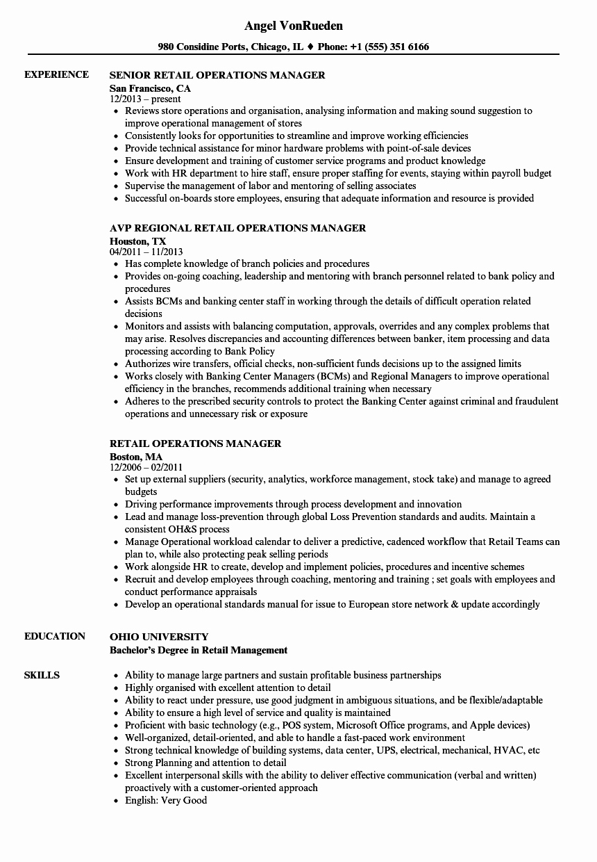 Retail Store Manager Resume Inspirational Retail Operations Manager Resume Samples