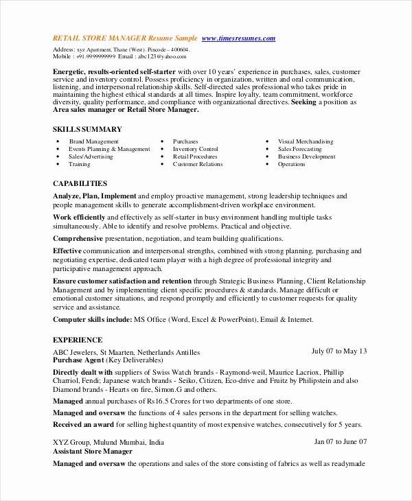 Retail Store Manager Resume Lovely 8 Retail Manager Resumes Free Sample Example format