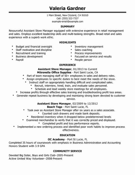 Retail Store Manager Resume Lovely Best Retail assistant Store Manager Resume Example