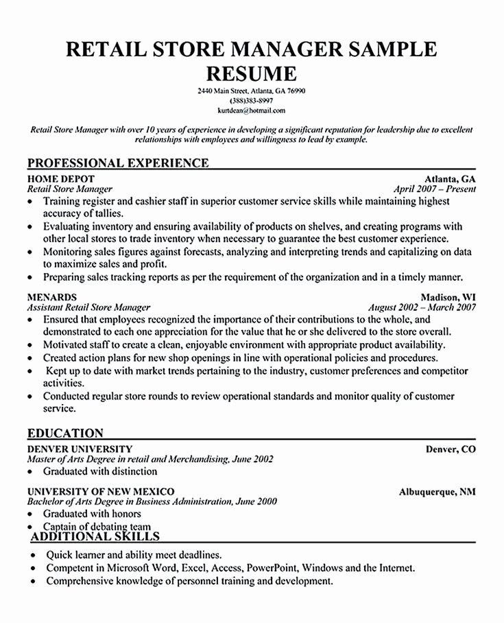 Retail Store Manager Resume Luxury Best 25 Retail Manager Ideas On Pinterest