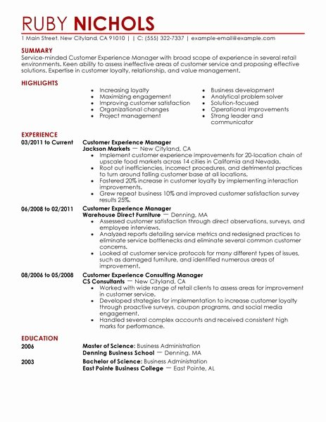 Retail Store Manager Resume Unique Best Customer Experience Manager Resume Example