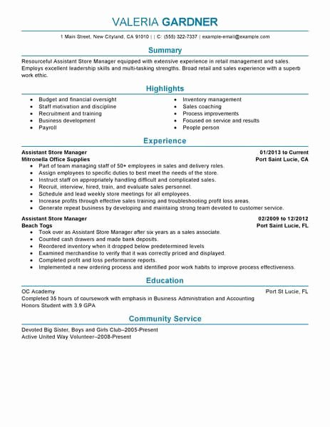 Retail Store Manager Resume Unique Best Retail assistant Store Manager Resume Example From
