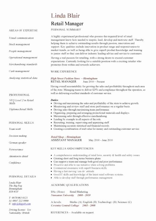 Retail Store Manager Resume Unique Retail Manager Resume Example Icebergcoworking